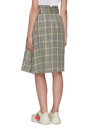 Back View - Click To Enlarge - PORTSPURE - Gingham print belted A-line skirt