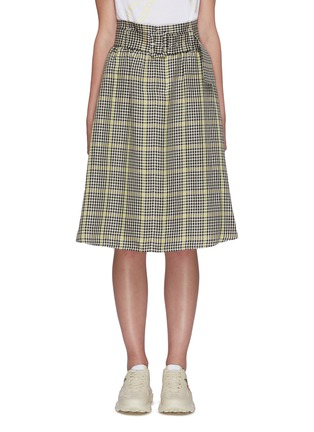 Main View - Click To Enlarge - PORTSPURE - Gingham print belted A-line skirt
