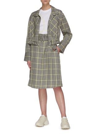 Figure View - Click To Enlarge - PORTSPURE - Gingham print belted A-line skirt