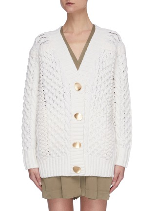 Main View - Click To Enlarge - 3.1 PHILLIP LIM - Cable knit metal button cardigan