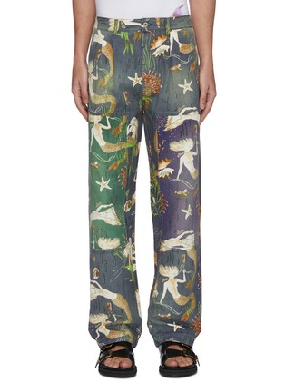Main View - Click To Enlarge - LOEWE - 'Paula's Ibiza' mermaid print panelled denim pants