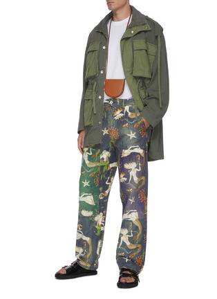 Figure View - Click To Enlarge - LOEWE - 'Paula's Ibiza' mermaid print panelled denim pants