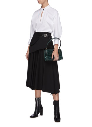 Figure View - Click To Enlarge - PROENZA SCHOULER - Leather foldover panel pleat skirt