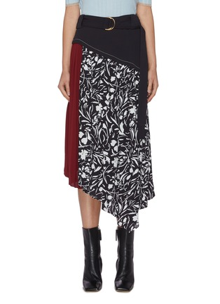 Main View - Click To Enlarge - PROENZA SCHOULER - Belted panel floral print asymmetric skirt