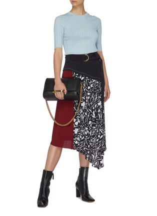 Figure View - Click To Enlarge - PROENZA SCHOULER - Belted panel floral print asymmetric skirt