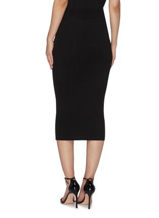 Back View - Click To Enlarge - BALMAIN - Button Flat Pocket Rib Knit Midi Skirt