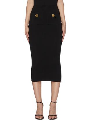 Main View - Click To Enlarge - BALMAIN - Button Flat Pocket Rib Knit Midi Skirt