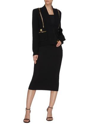 Figure View - Click To Enlarge - BALMAIN - Button Flat Pocket Rib Knit Midi Skirt