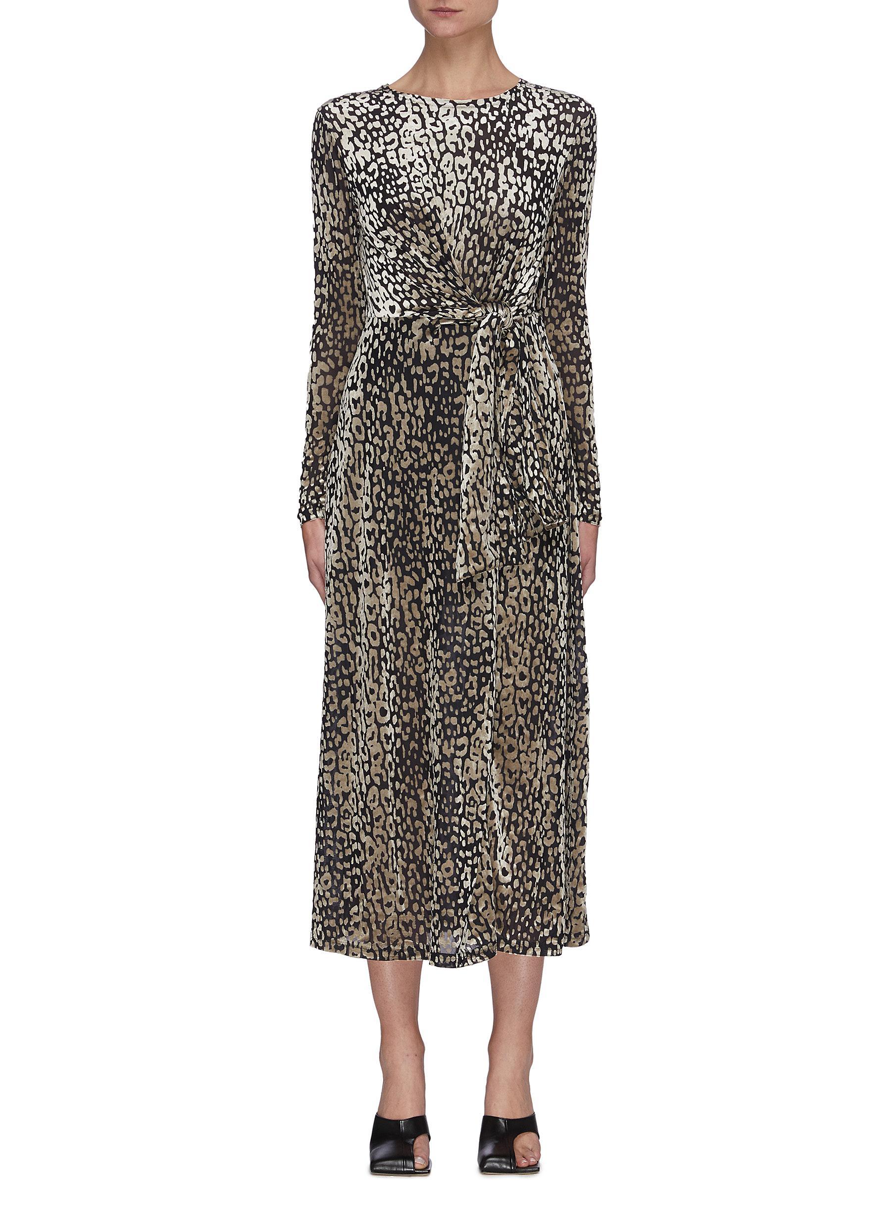Instinctive' Leopard Print Waist Tie Midi Dress