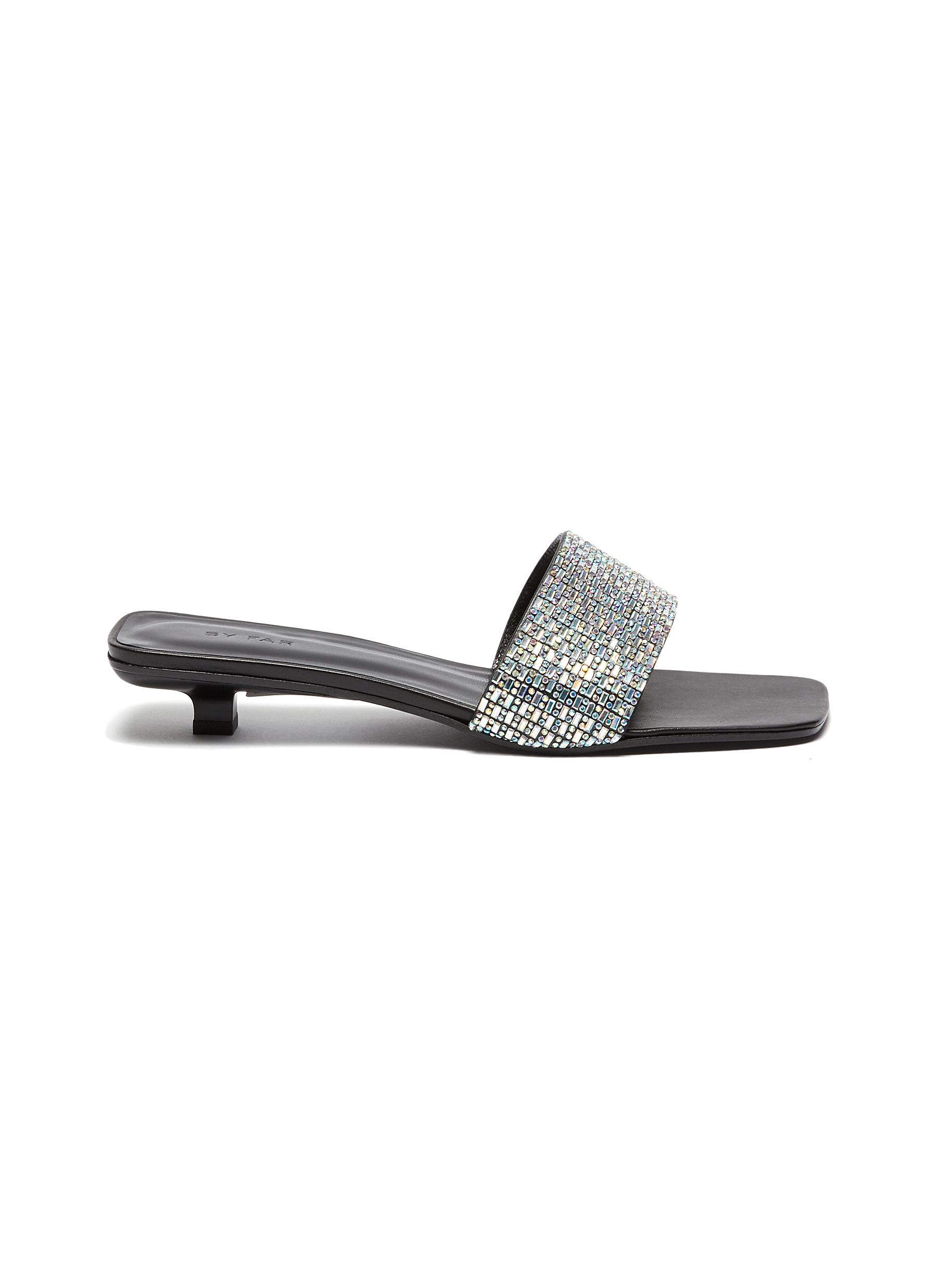 By Far Low Heels Ceni crystal embellished leather sandals