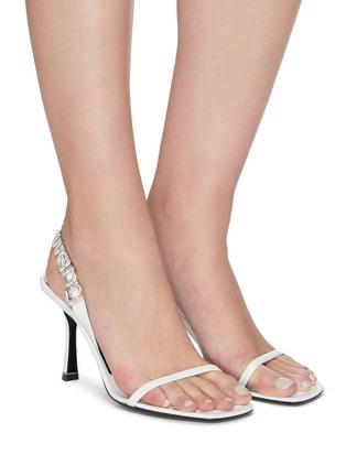 Figure View - Click To Enlarge - ALEXANDER WANG - Ivy' Rhinestone logo sling back heel sandals