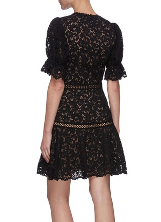 Back View - Click To Enlarge - JONATHAN SIMKHAI - Puff sleeve lace mini dress