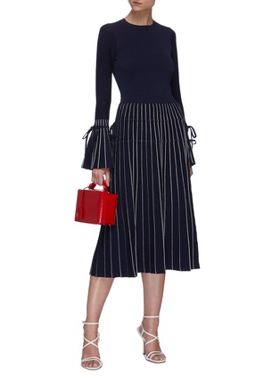 Figure View - Click To Enlarge - JONATHAN SIMKHAI - Raelynn ribbon embellished stripe midi skirt