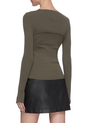 Back View - Click To Enlarge - DION LEE - Shoulder cutout rib knit top