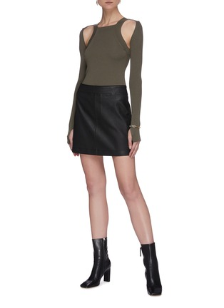 Figure View - Click To Enlarge - DION LEE - Shoulder cutout rib knit top