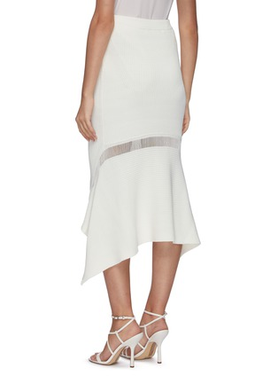 Back View - Click To Enlarge - DION LEE - Ribbed asymmetric drape midi skirt