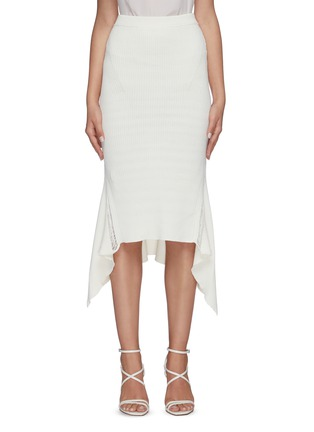 Main View - Click To Enlarge - DION LEE - Ribbed asymmetric drape midi skirt