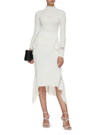 Figure View - Click To Enlarge - DION LEE - Ribbed asymmetric drape midi skirt