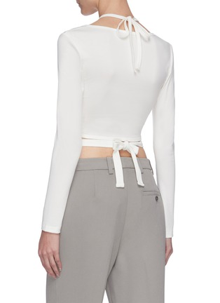 Back View - Click To Enlarge - DION LEE - Double tie shoulder cutout crop top