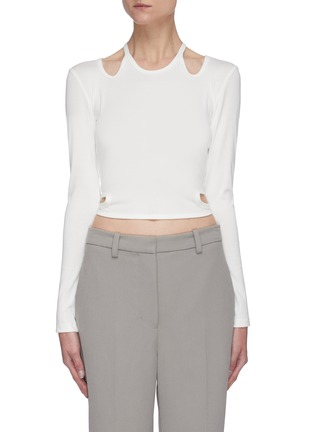 Main View - Click To Enlarge - DION LEE - Double tie shoulder cutout crop top