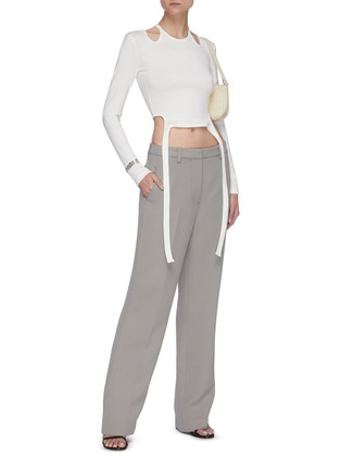 Figure View - Click To Enlarge - DION LEE - Double tie shoulder cutout crop top