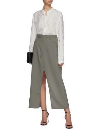 Figure View - Click To Enlarge - DION LEE - Denim maxi skirt