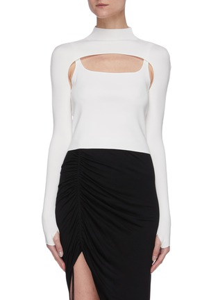 Main View - Click To Enlarge - DION LEE - Hoisery stirrup front hybrid top