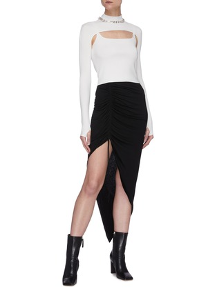 Figure View - Click To Enlarge - DION LEE - Hoisery stirrup front hybrid top