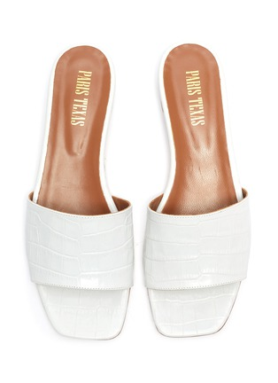 Detail View - Click To Enlarge - PARIS TEXAS - Croc embossed square toe flat sandals