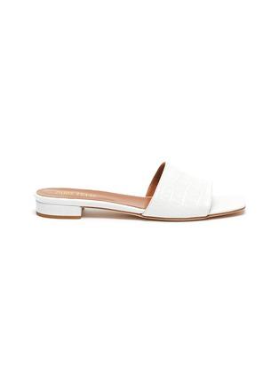 Main View - Click To Enlarge - PARIS TEXAS - Croc embossed square toe flat sandals