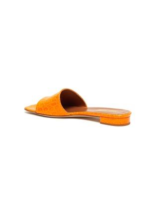 - PARIS TEXAS - Croc embossed square toe flat sandals