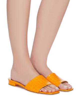 Figure View - Click To Enlarge - PARIS TEXAS - Croc embossed square toe flat sandals