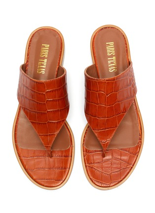 Detail View - Click To Enlarge - PARIS TEXAS - Croc embossed flat thong sandals