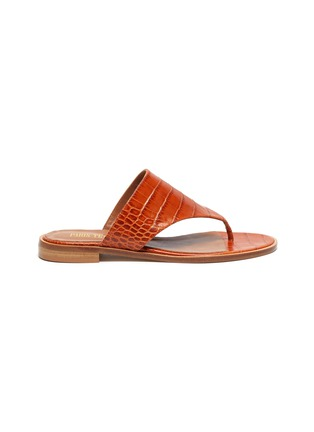 Main View - Click To Enlarge - PARIS TEXAS - Croc embossed flat thong sandals