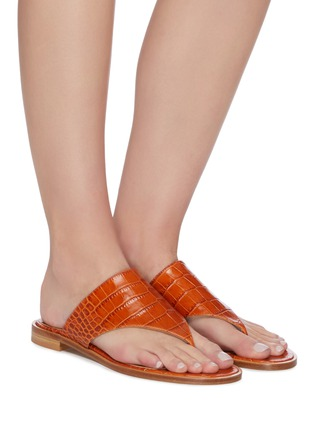 Figure View - Click To Enlarge - PARIS TEXAS - Croc embossed flat thong sandals