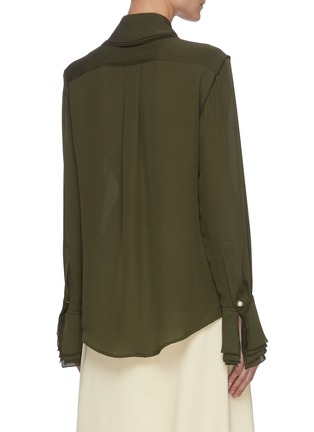 Back View - Click To Enlarge - JW ANDERSON - Oversize layered collar pearl button silk blouse