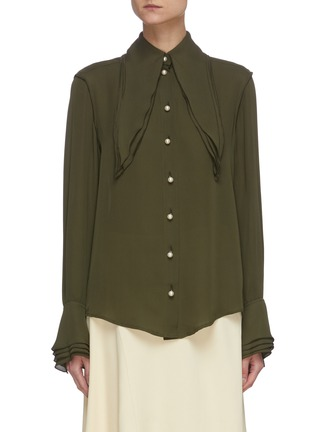 Main View - Click To Enlarge - JW ANDERSON - Oversize layered collar pearl button silk blouse