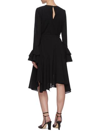 Back View - Click To Enlarge - JW ANDERSON - 'Godet' belted flare hem long sleeve dress