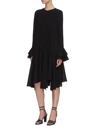 Front View - Click To Enlarge - JW ANDERSON - 'Godet' belted flare hem long sleeve dress