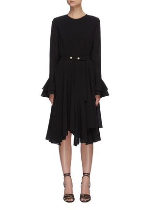 Main View - Click To Enlarge - JW ANDERSON - 'Godet' belted flare hem long sleeve dress