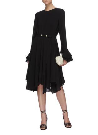 Figure View - Click To Enlarge - JW ANDERSON - 'Godet' belted flare hem long sleeve dress