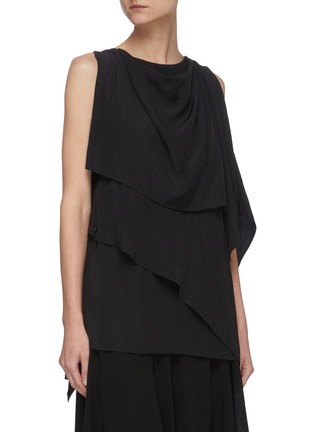 Front View - Click To Enlarge - JW ANDERSON - Chain belt drape sleeveless top