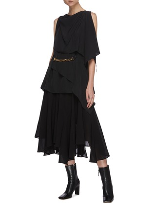 Figure View - Click To Enlarge - JW ANDERSON - Chain belt drape sleeveless top