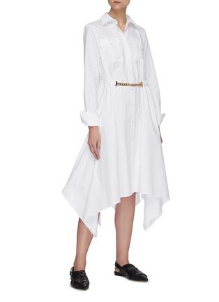 Figure View - Click To Enlarge - JW ANDERSON - Chain belt asymmetric handkerchief hem shirt dress