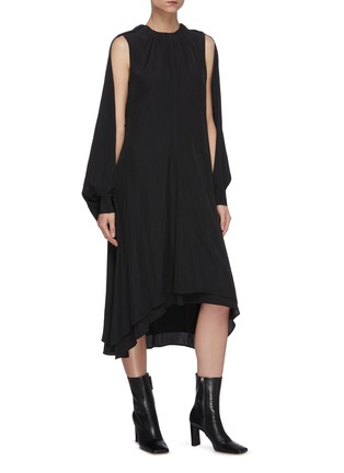 Front View - Click To Enlarge - JW ANDERSON - Chain belt cape sleeve asymmetric hem dress