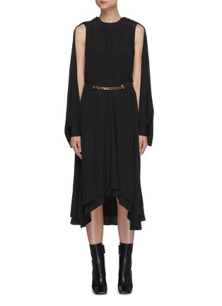 Main View - Click To Enlarge - JW ANDERSON - Chain belt cape sleeve asymmetric hem dress