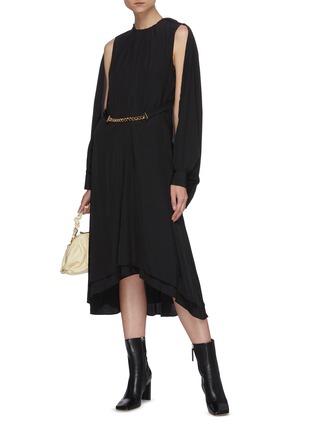 Figure View - Click To Enlarge - JW ANDERSON - Chain belt cape sleeve asymmetric hem dress