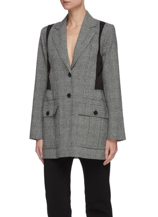 Detail View - Click To Enlarge - JW ANDERSON - Belted back panel check blazer