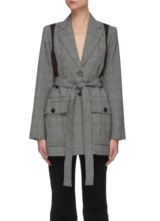 Main View - Click To Enlarge - JW ANDERSON - Belted back panel check blazer