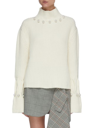 Main View - Click To Enlarge - JW ANDERSON - Pearl embellished turtleneck sweater